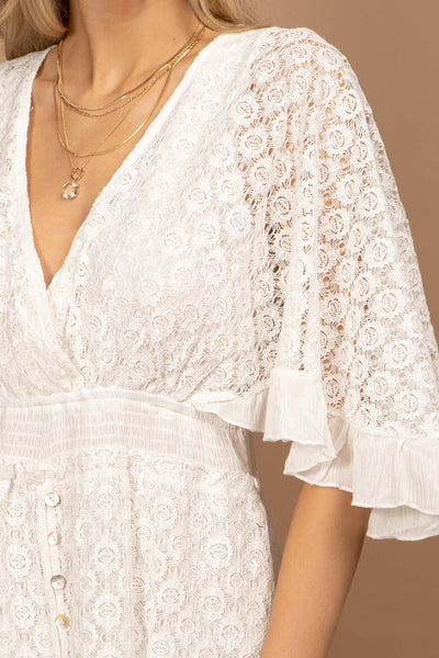 Demi White Lace Romper