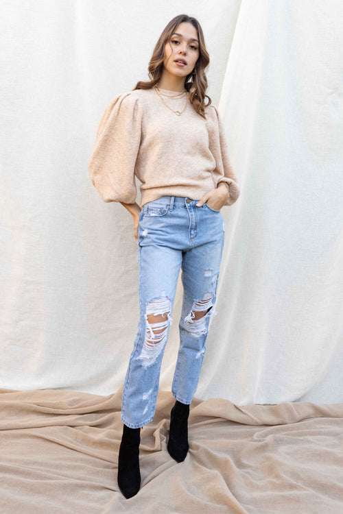 Emma Balloon Sleeve Crop Sweater