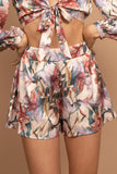 Diana Floral Satin Tie Short Set
