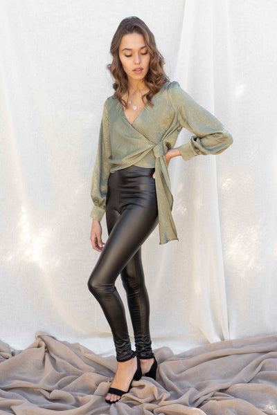 Heather Side Wrap Tie Satin Top