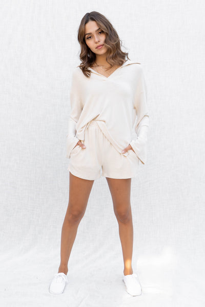Stay Cozy Long Sleeve Short Set