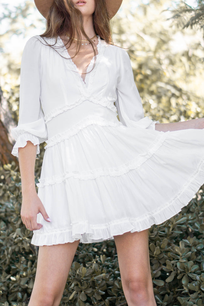 Ruffle Detail Long Sleeve Dress