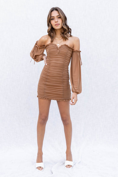 Mocha Mesh Shirring Detail Dress