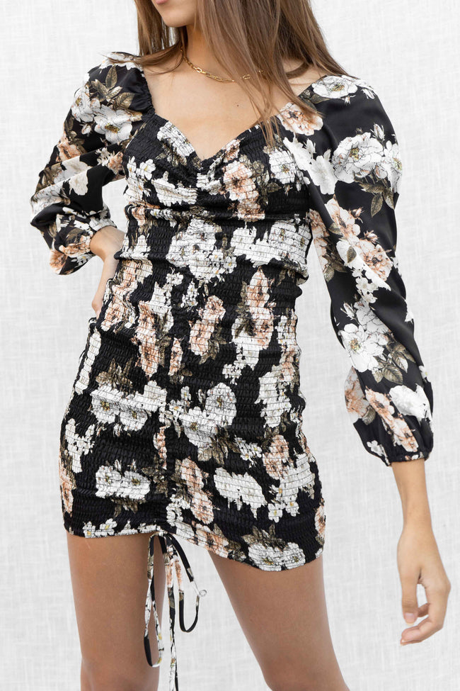 Dusty Floral Smocked Dress