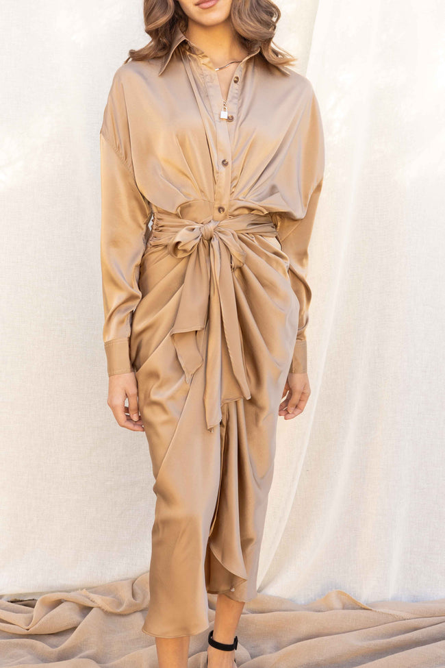 Isabella Satin Maxi Shirt Dress