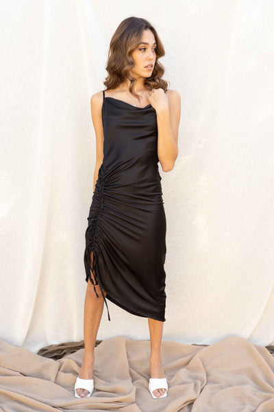 Jessenia Cowl Neck Ruched Dress