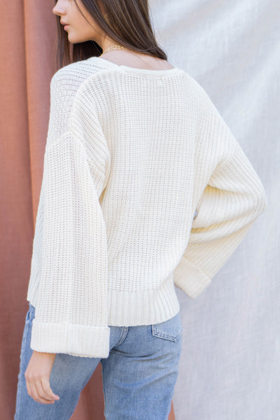 Simple Cable Knit V Neck Sweater