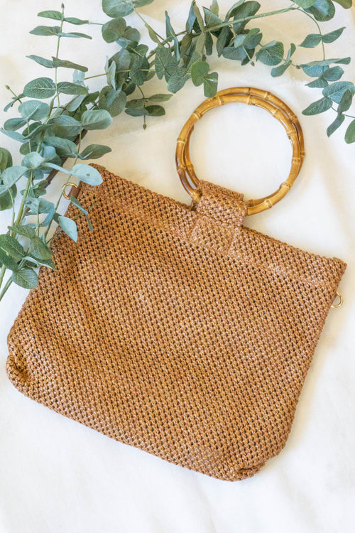 Mesh Braided Top Handle Bag