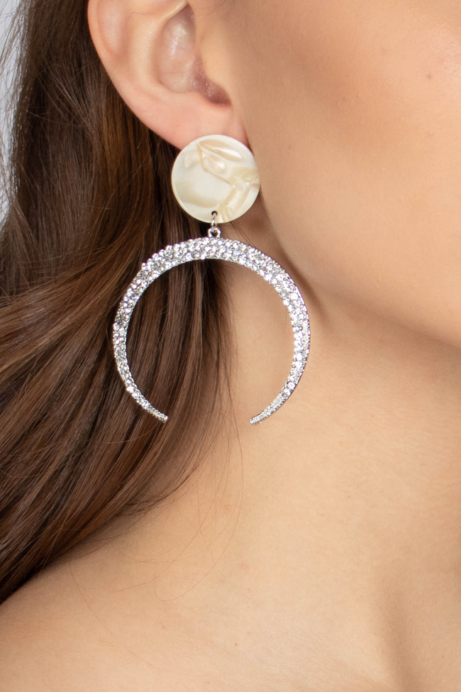 Pave Crescent Moon Drop Earrings