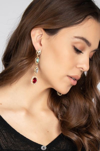 Multi Rhinestone Drop Earrings