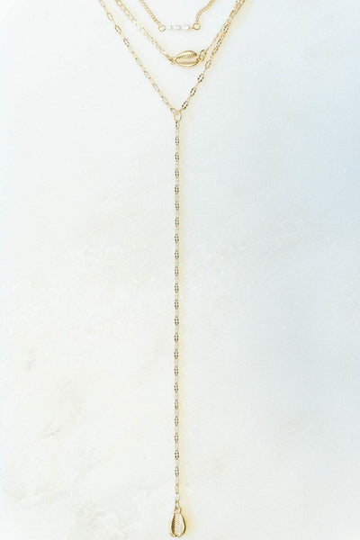 Layered Metal Cowrie Shell Lariat Necklace