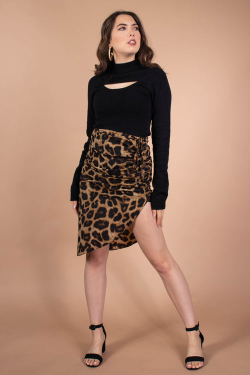 Leopard Drawstring Skirt