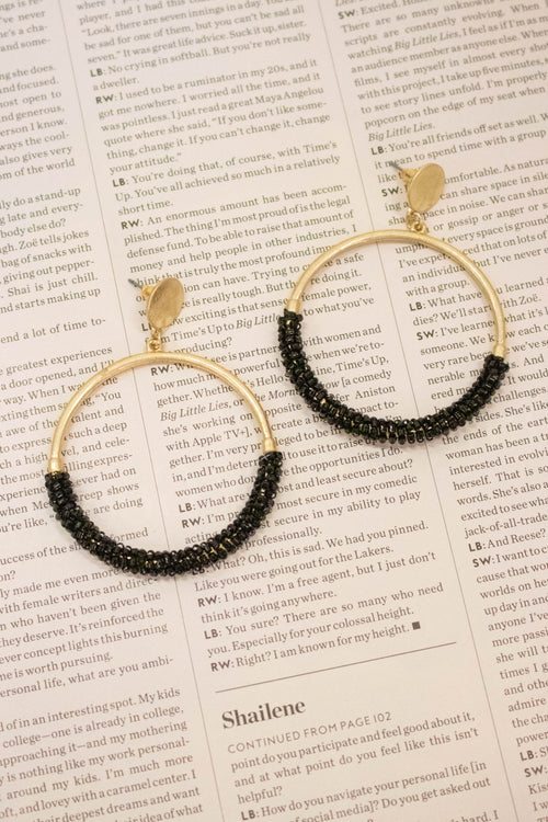 Beaded Circle Hoop Earrings