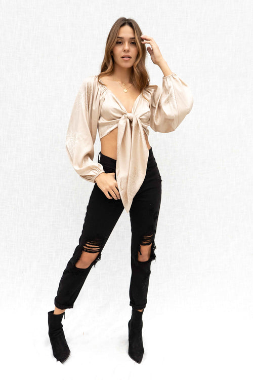 Claire Long Sleeve Tie Top