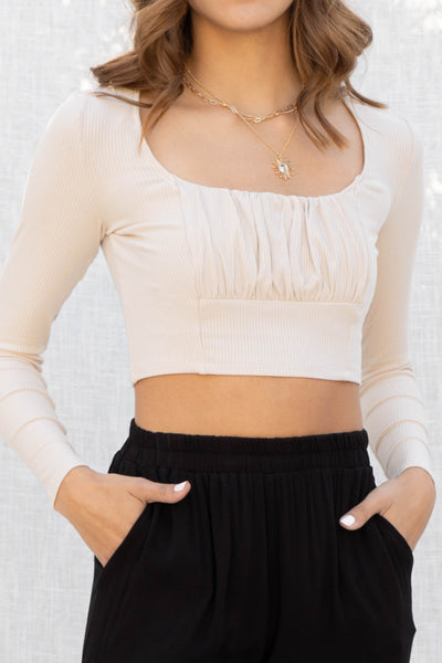 Avah Square Neck Ruched Crop Top