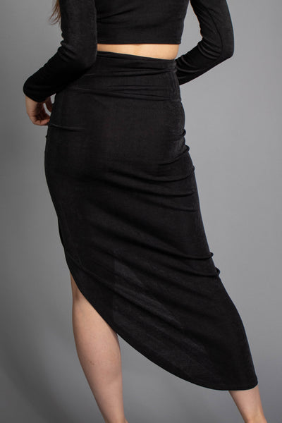 Paola Front Slit Ruched Skirt