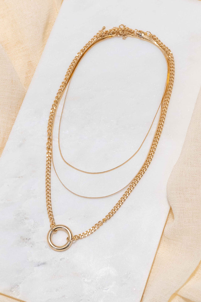 Double Herringbone Circle Charm Necklace