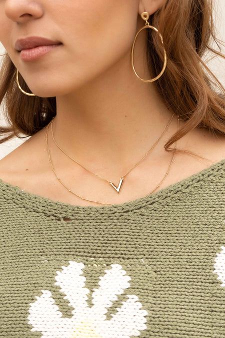 V Bar Pendant Layered Necklace