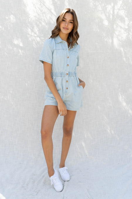 Ivanna Denim Short Sleeve Romper