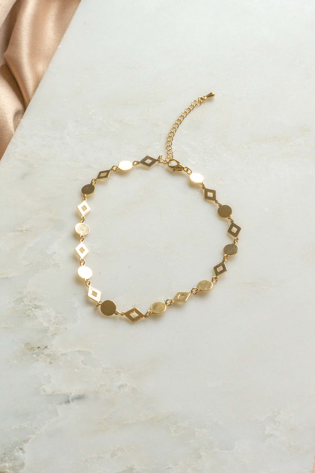 Circle And Square Chain Anklet