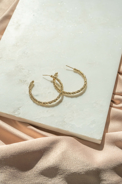 Thin Textured Hoop Earrings