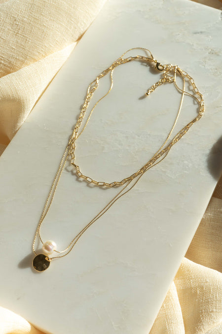Layered Stone And Padlock Necklace