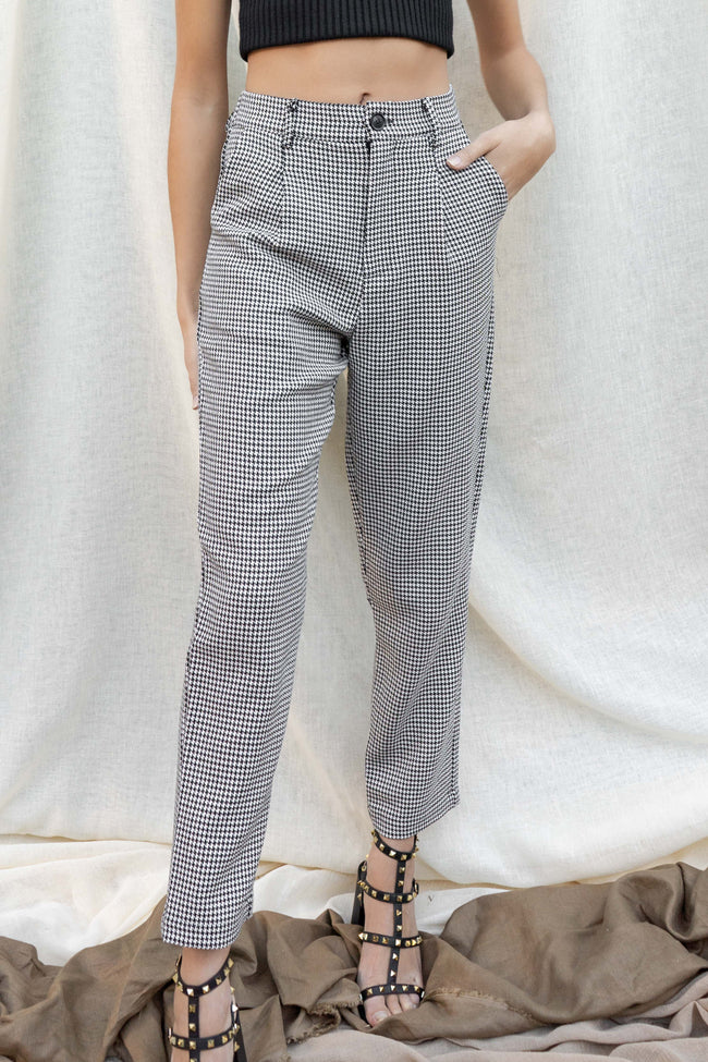 Misha Houndstooth Ankle Trouser