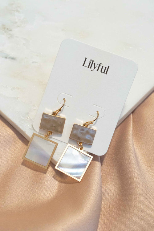 Dainty Pearl Square Drop Earrings