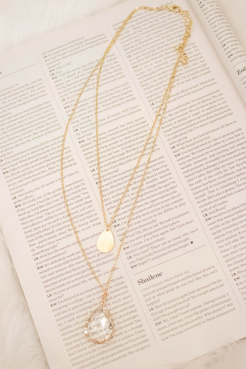 Clear Tear Drop Necklace