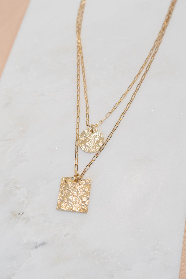 Hammered Square Pendant Necklace