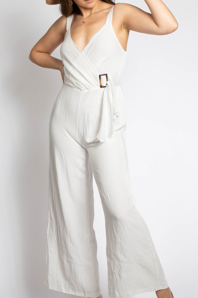 All White Side Tie Jumpsuit