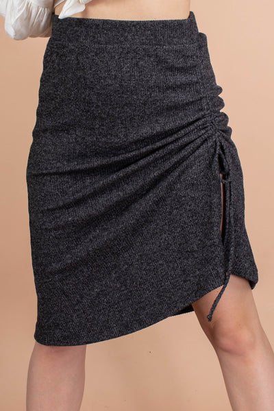 Ruching Detail Ribbed Skirt