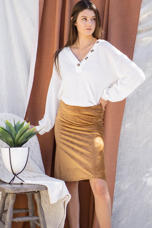 Corduroy Knit Midi Skirt
