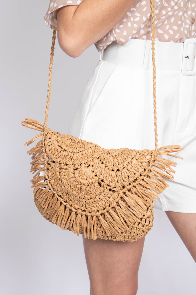 Half Moon Fringe Straw Bag