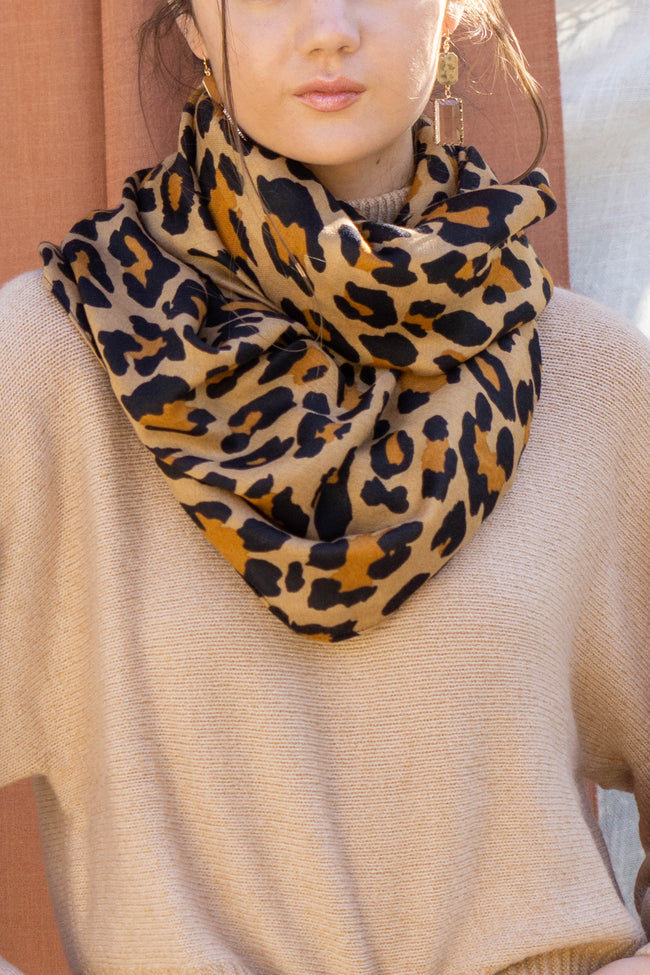 Brown Leopard Long Scarf