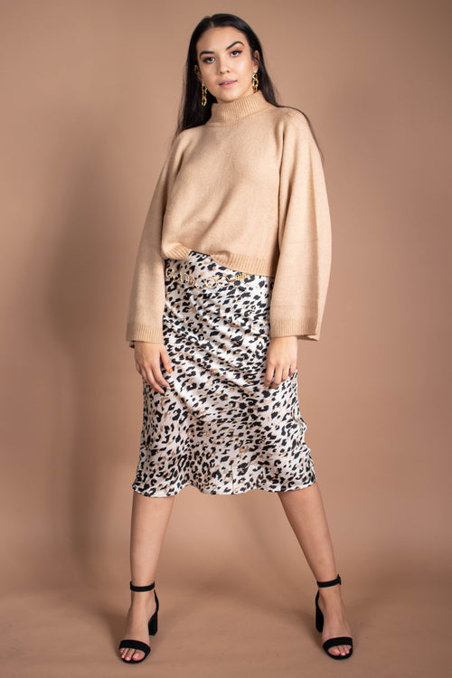 Audrina Animal Satin Midi Skirt