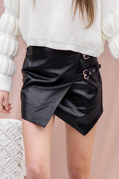 Naomi Faux Leather Buckle Skirt