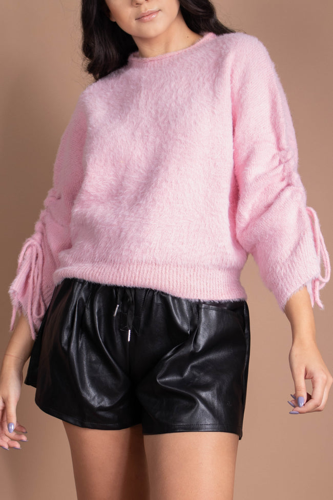 Fuzzy Ruched Sleeve Sweater