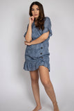 Denim Embroidery Ruffle Sleeve Dress