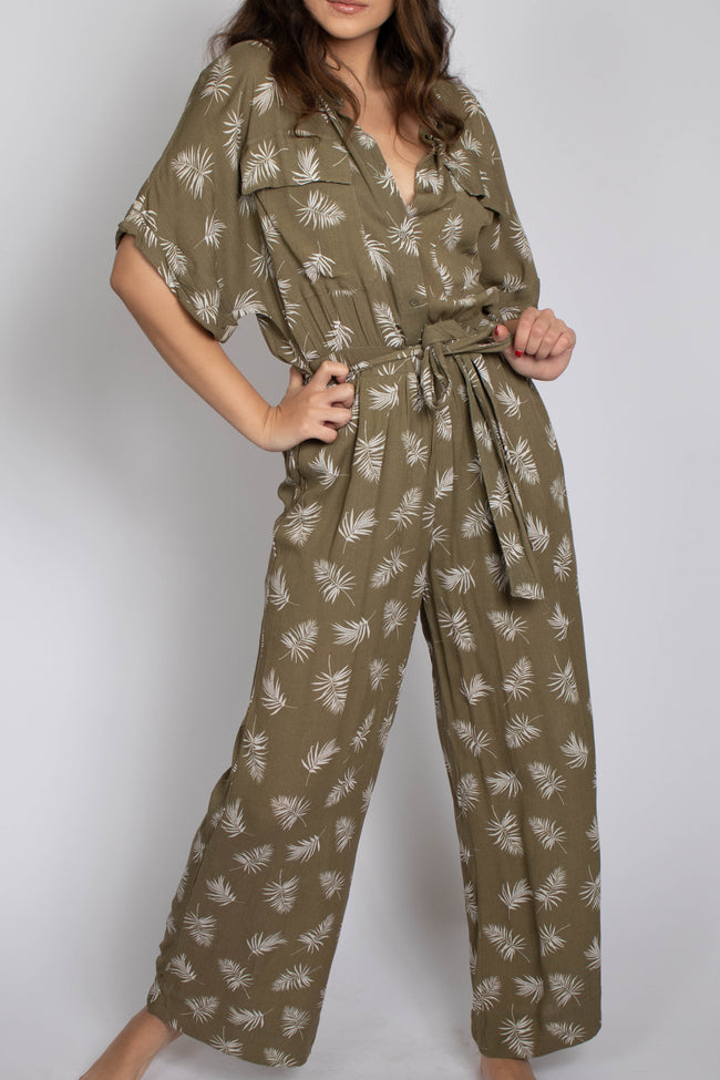 Leaf Print Button Down Jumpsuit