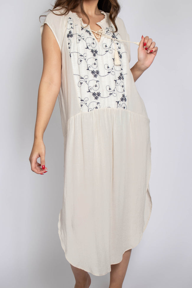 Embroidered Yoke Tunic Dress