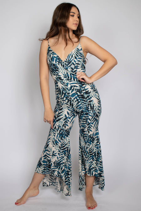 Sandy Printed Ruffle Bottom Jumpsuit