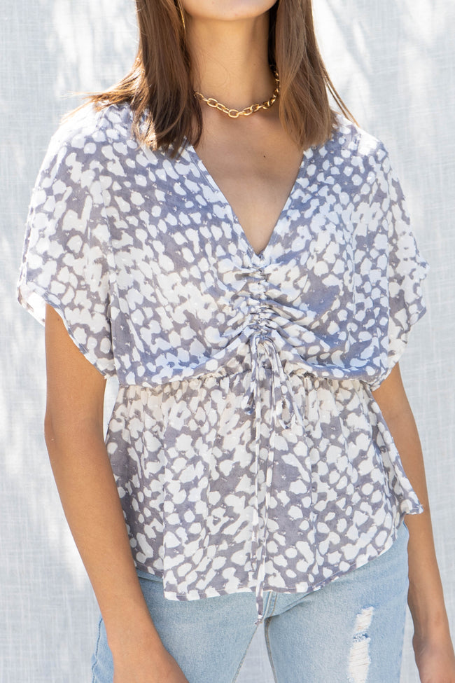 Cloudy Dot Front Ruched Top