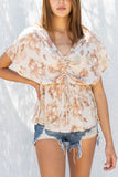 Hazy Floral Front Ruched Top