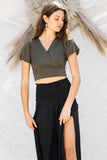 Mia Bubble Sleeve Crop Top