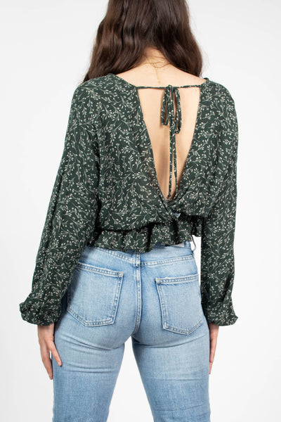 Green Forest Cinched Waist Top