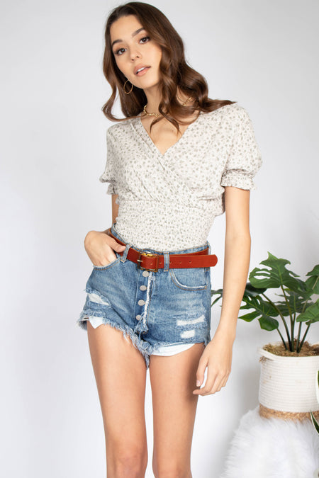 Ray Knit Tie Wrap Top