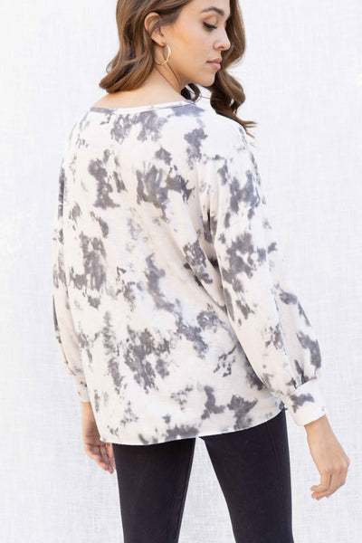 Tie Dye Ruched Detail Oversized Top