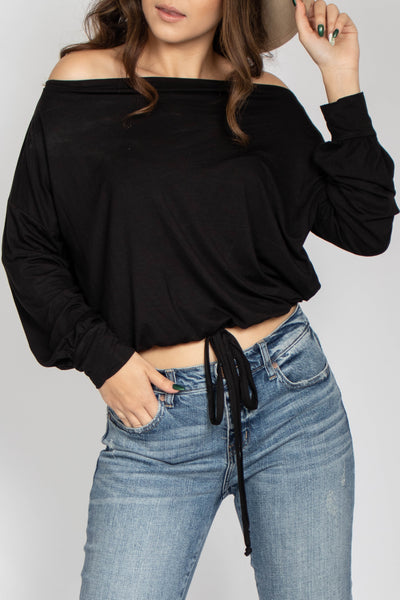 Jade Boat Neck Drape Top