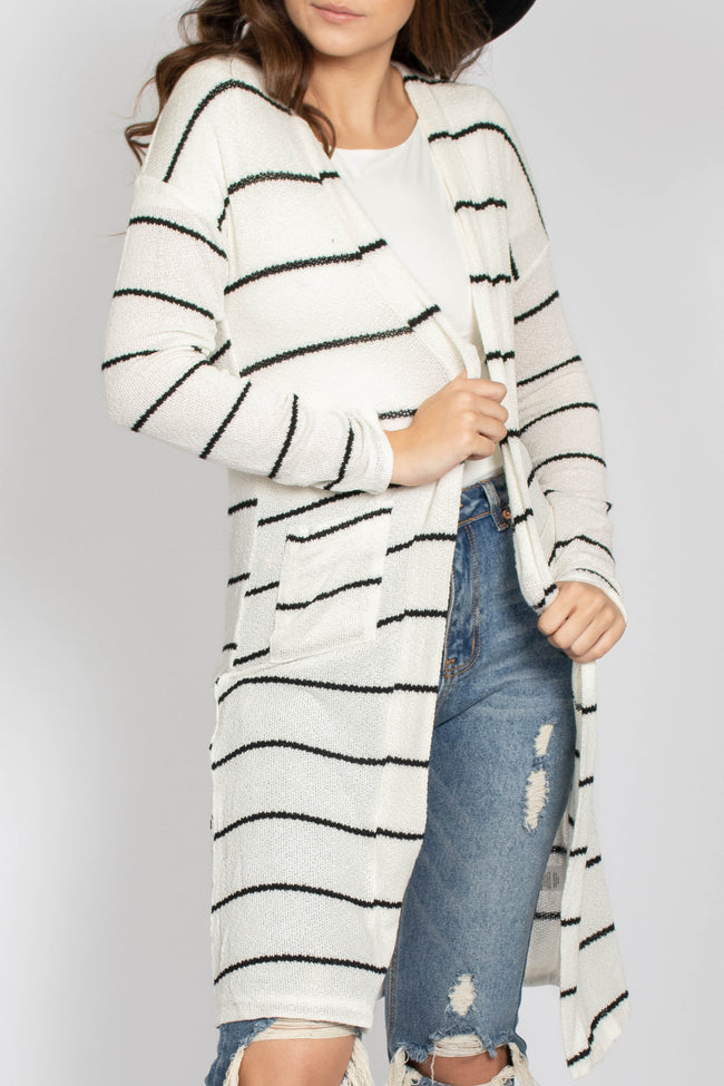 Stripe Sweater Knit Cardigan